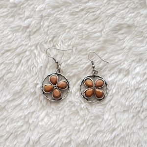 Silver and Brown Circular Earrings
